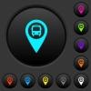 Public transport GPS map location dark push buttons with color icons - Public transport GPS map location dark push buttons with vivid color icons on dark grey background