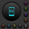 Mobile broker dark push buttons with color icons - Mobile broker dark push buttons with vivid color icons on dark grey background
