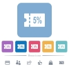 5 percent discount coupon flat white icons in square backgrounds - 5 percent discount coupon flat white icons in square backgrounds. 6 bonus icons included.