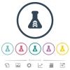 Dangerous chemical experiment flat color icons in round outlines - Dangerous chemical experiment flat color icons in round outlines. 6 bonus icons included.
