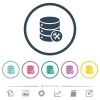 Database maintenance flat color icons in round outlines - Database maintenance flat color icons in round outlines. 6 bonus icons included.