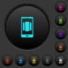 Setting up mobile homescreen dark push buttons with color icons - Setting up mobile homescreen dark push buttons with vivid color icons on dark grey background