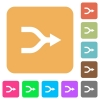 Merge arrows rounded square flat icons - Merge arrows flat icons on rounded square vivid color backgrounds.