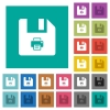 Rename file square flat multi colored icons - Rename file multi colored flat icons on plain square backgrounds. Included white and darker icon variations for hover or active effects.