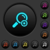 Search settings dark push buttons with color icons - Search settings dark push buttons with vivid color icons on dark grey background