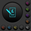 Signing Pound cheque dark push buttons with vivid color icons on dark grey background - Signing Pound cheque dark push buttons with color icons