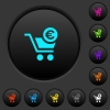 Checkout with Euro cart dark push buttons with color icons - Checkout with Euro cart dark push buttons with vivid color icons on dark grey background