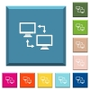 Data syncronization white icons on edged square buttons - Data syncronization white icons on edged square buttons in various trendy colors