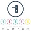 Left handed simple door handle flat color icons in round outlines - Left handed simple door handle flat color icons in round outlines. 6 bonus icons included.