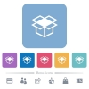 Open box flat icons on color rounded square backgrounds - Open box white flat icons on color rounded square backgrounds. 6 bonus icons included