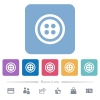 Dress button with 4 holes flat icons on color rounded square backgrounds - Dress button with 4 holes white flat icons on color rounded square backgrounds. 6 bonus icons included