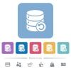 Undo database changes flat icons on color rounded square backgrounds - Undo database changes white flat icons on color rounded square backgrounds. 6 bonus icons included