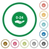 24 hours service sticker flat icons with outlines - 24 hours service sticker flat color icons in round outlines on white background