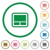 Laptop touchpad flat icons with outlines - Laptop touchpad flat color icons in round outlines on white background