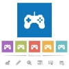 Game controller flat white icons in square backgrounds. 6 bonus icons included. - Game controller flat white icons in square backgrounds