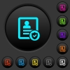 Protected contact dark push buttons with color icons - Protected contact dark push buttons with vivid color icons on dark grey background
