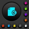 Euro financial report dark push buttons with color icons - Euro financial report dark push buttons with vivid color icons on dark grey background