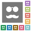 Glasses and mustache square flat icons - Glasses and mustache flat icons on simple color square backgrounds