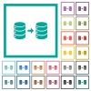 Database mirroring flat color icons with quadrant frames - Database mirroring flat color icons with quadrant frames on white background