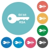 64 bit rsa encryption flat round icons - 64 bit rsa encryption flat white icons on round color backgrounds