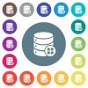 Database modules flat white icons on round color backgrounds - Database modules flat white icons on round color backgrounds. 17 background color variations are included.