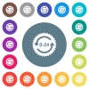 24 hours sticker with arrows flat white icons on round color backgrounds - 24 hours sticker with arrows flat white icons on round color backgrounds. 17 background color variations are included.