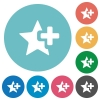 Add star flat round icons - Add star flat white icons on round color backgrounds