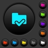Folder ok dark push buttons with color icons - Folder ok dark push buttons with vivid color icons on dark grey background