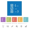 Source code checking flat white icons in square backgrounds - Source code checking flat white icons in square backgrounds. 6 bonus icons included.