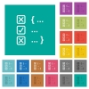 Source code checking square flat multi colored icons - Source code checking multi colored flat icons on plain square backgrounds. Included white and darker icon variations for hover or active effects.
