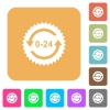 24 hours sticker with arrows rounded square flat icons - 24 hours sticker with arrows flat icons on rounded square vivid color backgrounds.
