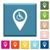 Disability accessibility GPS map location white icons on edged square buttons - Disability accessibility GPS map location white icons on edged square buttons in various trendy colors