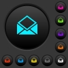 Open mail dark push buttons with color icons - Open mail dark push buttons with vivid color icons on dark grey background