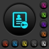 Secure contact dark push buttons with color icons - Secure contact dark push buttons with vivid color icons on dark grey background