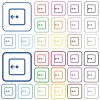 Move object left outlined flat color icons - Move object left color flat icons in rounded square frames. Thin and thick versions included.