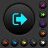 Sign out dark push buttons with color icons - Sign out dark push buttons with vivid color icons on dark grey background