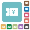Japanese Yen discount coupon rounded square flat icons - Japanese Yen discount coupon white flat icons on color rounded square backgrounds