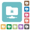 FTP bug rounded square flat icons - FTP bug white flat icons on color rounded square backgrounds