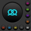 Salted pretzel dark push buttons with color icons - Salted pretzel dark push buttons with vivid color icons on dark grey background