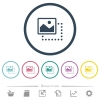 Drag image to top left flat color icons in round outlines - Drag image to top left flat color icons in round outlines. 6 bonus icons included.