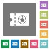Soccer discount coupon square flat icons - Soccer discount coupon flat icons on simple color square backgrounds