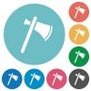 Single tomahawk flat round icons - Single tomahawk flat white icons on round color backgrounds