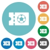 Soccer discount coupon flat round icons - Soccer discount coupon flat white icons on round color backgrounds