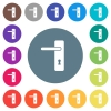 Left handed simple door handle flat white icons on round color backgrounds - Left handed simple door handle flat white icons on round color backgrounds. 17 background color variations are included.