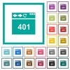 Browser 401 Unauthorized flat color icons with quadrant frames - Browser 401 Unauthorized flat color icons with quadrant frames on white background