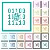 Digital fingerprint flat color icons with quadrant frames - Digital fingerprint flat color icons with quadrant frames on white background