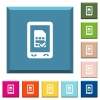 Mobile simcard accepted white icons on edged square buttons - Mobile simcard accepted white icons on edged square buttons in various trendy colors