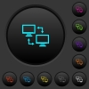 Data syncronization dark push buttons with color icons - Data syncronization dark push buttons with vivid color icons on dark grey background