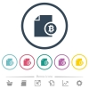Bitcoin financial report flat color icons in round outlines - Bitcoin financial report flat color icons in round outlines. 6 bonus icons included.