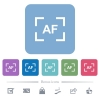 Camera autofocus mode flat icons on color rounded square backgrounds - Camera autofocus mode white flat icons on color rounded square backgrounds. 6 bonus icons included